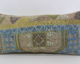 Anatolian Kilim Pillow Sofa Pillow 12x24 Embroidered Kilim Pillow Turkish Kilim Pillow Decorative Kilim Pillow Cushion Cover  SP3060-1118