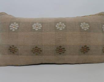 Decorative Kilim Pillow 12x24 Turkish Kilim Pillow Sofa Pillow Handwoven Kilim Pillow Lumbar Kilim Pillow Sofa Pillow SP3060-1424