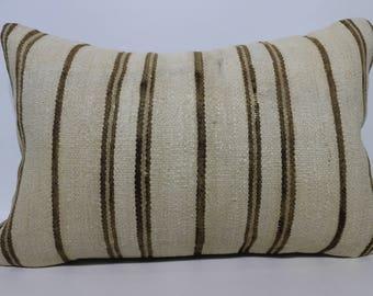 Handwoven Kilim Pillow White Striped Kilim Pillow 16x24 Decortive Kilim Pillow Sofa Pillow Bedroom Pillow Lumbar Kilim Pillow  SP4060-1061