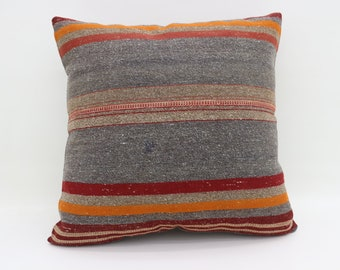 Striped Pillow Multicolor Kilim Pillow Gray Pillow 20x20 Large Turkish Kilim Pillow Bohemian Cushion Cover Pillow Blue Pillow SP5050-2699