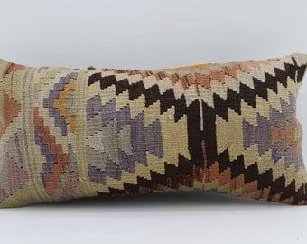 12x24 Kilim Pillow Covers  Geometric Pilllow Multicolor Pillow Embroidered Pillow Turkish Kilim Pillow Sofa Pillow 12x24 SP3060-1686