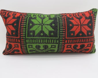 12x24 Geometric Kilim Pillow Throw Pillow 12x24 Lumbar Pillow Black Striped Kilim Pillow Green and Red  Pillow Cushion Cover  SP3060-1725