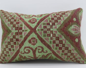 16x24 Red and Green Kilim Pillow Cover Floral Pillow Turkish Decorative Kilim Pillow 16x24 Pillow Plaid  Pillow Striped Pillow SP4060-1361