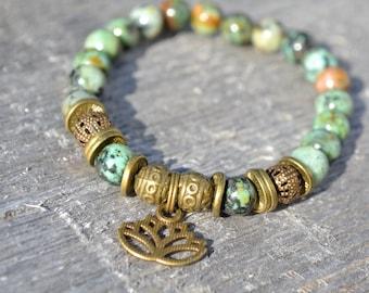Bracelet African + Lotus Jasper