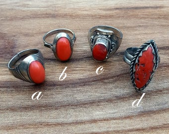 sterling silver & coral ring