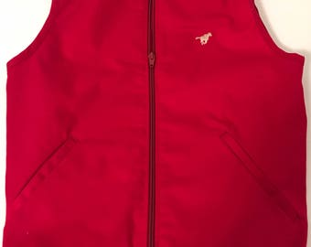 Vintage Women's Pony Zip Up Vest Red and Tan (Brand Unknown)