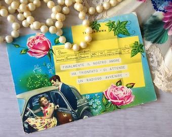 Vintage dolce vita postcard Italy 60s