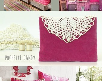Pink with Vintage Crochet Boho clutch