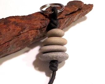 Beach Pebble Keychain