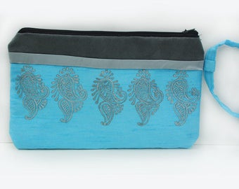 Blue silk and grey suede wristlet