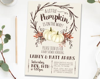Fall Autumn Pumpkin Baby Shower Sprinkle Invitation Invites, Rustic Woodland Fall White Pumpkin Gender Neutral Printable Invite Invitations