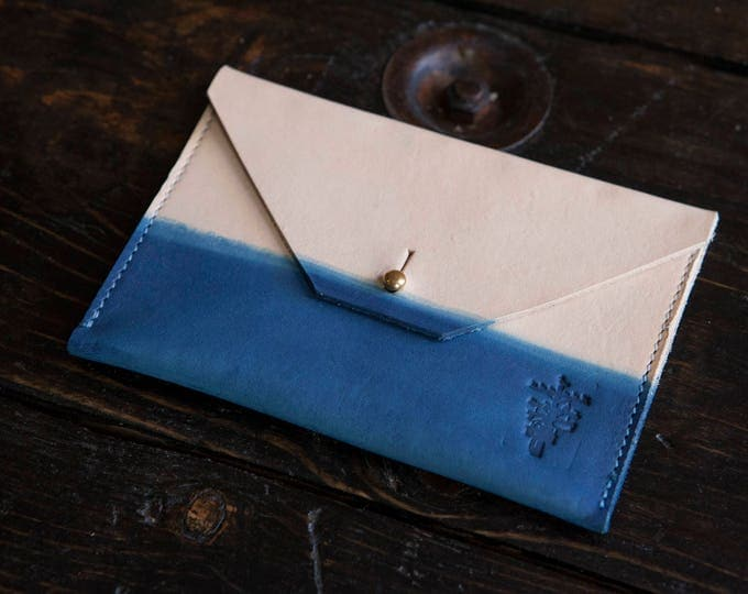 """Indigo Dipped Leather Clutch with Solid Brass Stud & Keyhole Closure - Envelope Style 6.25"""" x 4.25"""""""