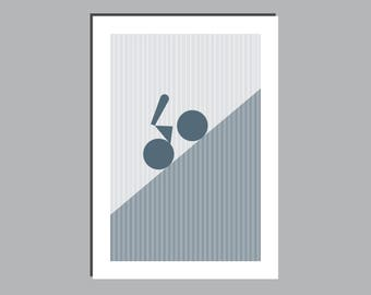 Cycling Art - Abstract Contemporary Graphic Print - Uphill