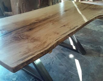 Live Edge, Spalted Burr Oak Dining Table