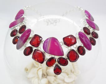 Pink Lace Agate and Garnet Sterling Silver Necklace