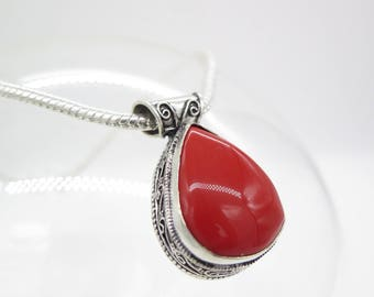 Vintage Coral Sterling Silver Pendant and Chain