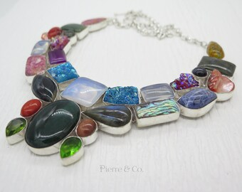 Drusy Lace Agate Moss Agate Labradorite Sterling Silver Necklace