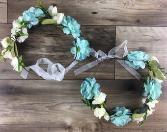 Flower crown blue mommy and daughter // mother and daughter flowers crown // headband // accessories mommy and daughter // matching outfit