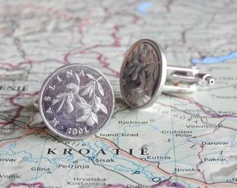 Croatia coin cufflinks - 2 different designs - made of original coins - traveler - Zagreb - Dubrovnik