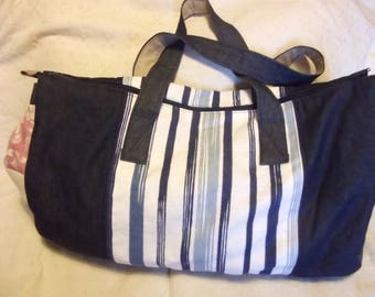 Denim and Patchwork Weekend Bag