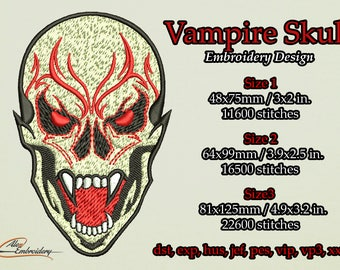 The vampire skull embroidery design. 3 sizes. 8 embroidery formats.