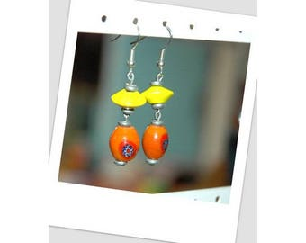 Yellow and orange Pearl Silver earrings