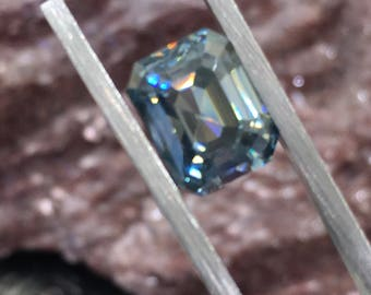 3.65 Cts Denim Blue Emerald Cut Moissanite 10 X mm / 8 mm VVS1  and yes, Authentic 289.00