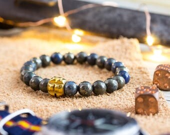 8mm - Mens bracelet, Half blue natural pyrite beaded stretchy bracelet with gold bead, mens beaded bracelet, blue bracelet, casual bracelet
