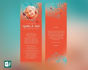 Flourish Funeral Bookmark Publisher Template