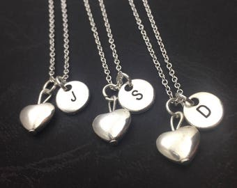 Silver Best Friends Necklaces - Set of 3 Friendship Necklaces, Heart Charms, Bff Charm,Custom Necklace Set for 3, Best Friend Jewelry,Custom