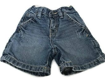 Baby Distressed and wash Blue Jean Shorts Carpenter Jeans by Utility Est. Place 1989 Size 6 to 9 Months