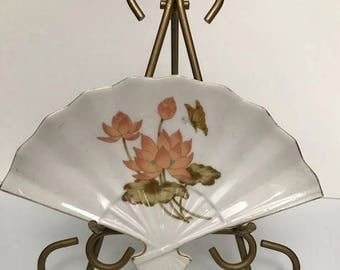 Vintage Porcelain Japanese Trail Hand Fan Shape