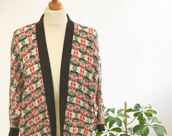 Handmade Kimono style Geometric Print Batwing Jacket
