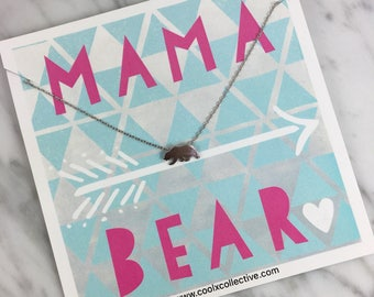 Mama bear necklace, new mom, mother's day, expecting mother, pregnant, preggers, baby, newborn, baby reveal, congrats baby, fun mom gift
