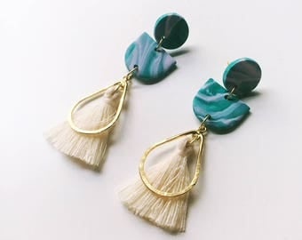 The Imogen Earring // Polymer clay earring, statement earring, dangly tassel earrings