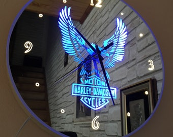 Bright mirror Harley-Davidson clock