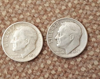 Two US Silver dimes 1954 and 1946