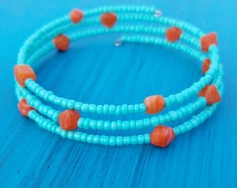 Memory Wire Bracelet with Teal and Chunky Orange Beads
