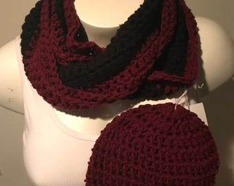 Handmade crocheted Infinity Scarf with matching hat