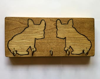 Hand Painted Puppies- Rustic Leash Holder / Key Hanger. A fun and functional gift for dog lovers!