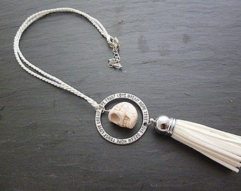 Skull and white tassel necklace