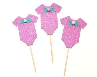 10 pcs flowers Baby Onesies it's a girl baby shower pink glitter cupcake dessert topper
