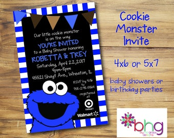 Cookie Monster Baby Shower Invite   Cookie Monster   Baby Boy Invite  Blue,  White