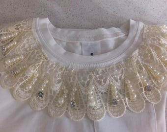 Vintage lace trimmed Girls T=Shirt