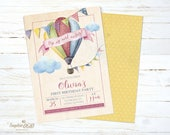 Printable birthday invitation, Hot air balloon vintage invitation, baptism invitation, christening invitation, Digital file, DIY invite