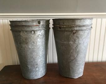 2nds!!  Vintage Sap Bucket sap Buckets Vermont Galvanized Sap Buckets Garden Planter Galvanized Bucket