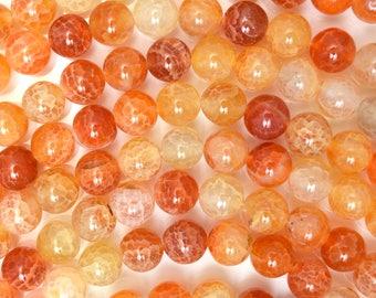 "8mm orange crab fire agate round beads 15"" strand 38310"