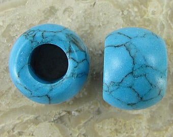 2 14mm blue turquoise beads 1253