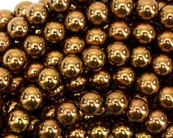 "10mm copper hematite round beads 15.5"" strand 38965"