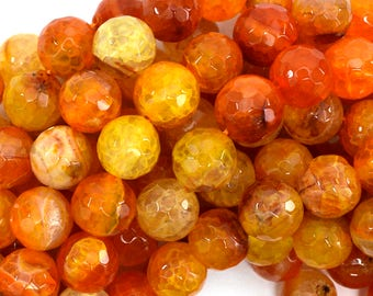 "12mm faceted agate round beads 14"" strand orange 38879"